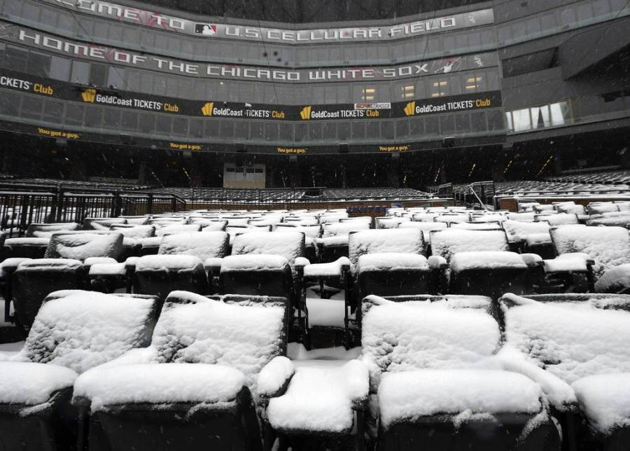 Opening day is getting nearer, but Chicago and U.S. Cellular Field are coated in snow. — Terrence Antonio James, Chicago Tribune, March 5, 2013