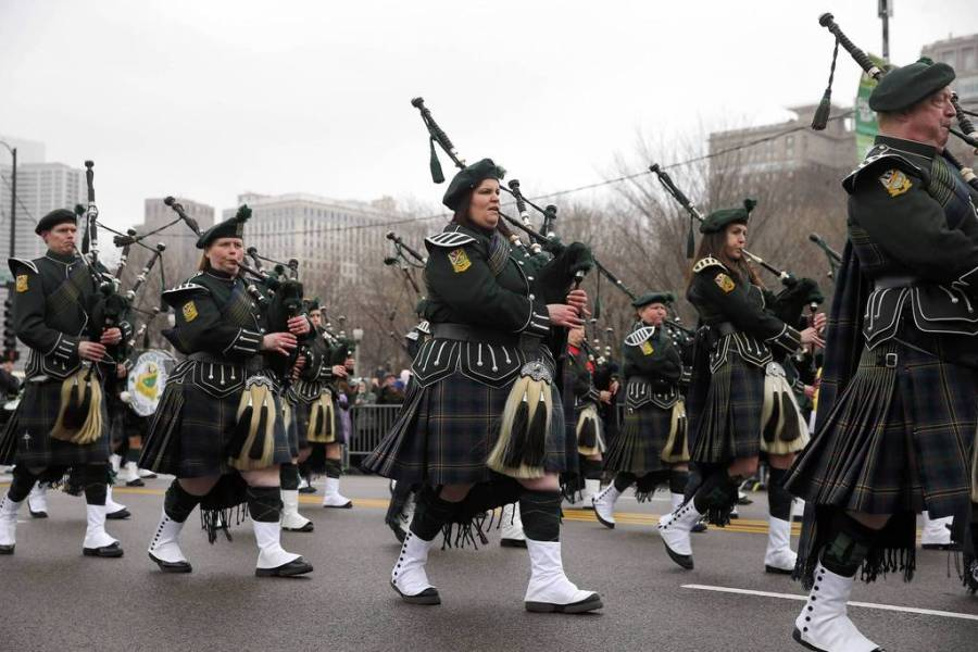 Bagpipers play the parade route during Chicago's St. Patrick's Day celebration. — Brian Cassella, Chicago Tribune, March 16, 2013