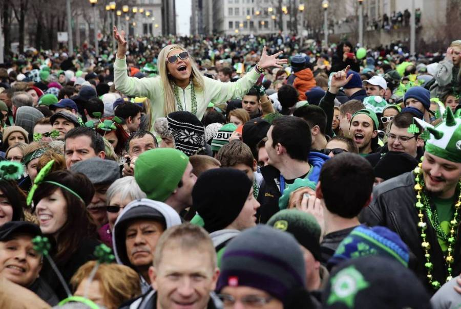 Spectators pack Columbus Drive for the parade during Chicago's St. Patrick's Day celebration. — Brian Cassella, Chicago Tribune, March 16, 2013