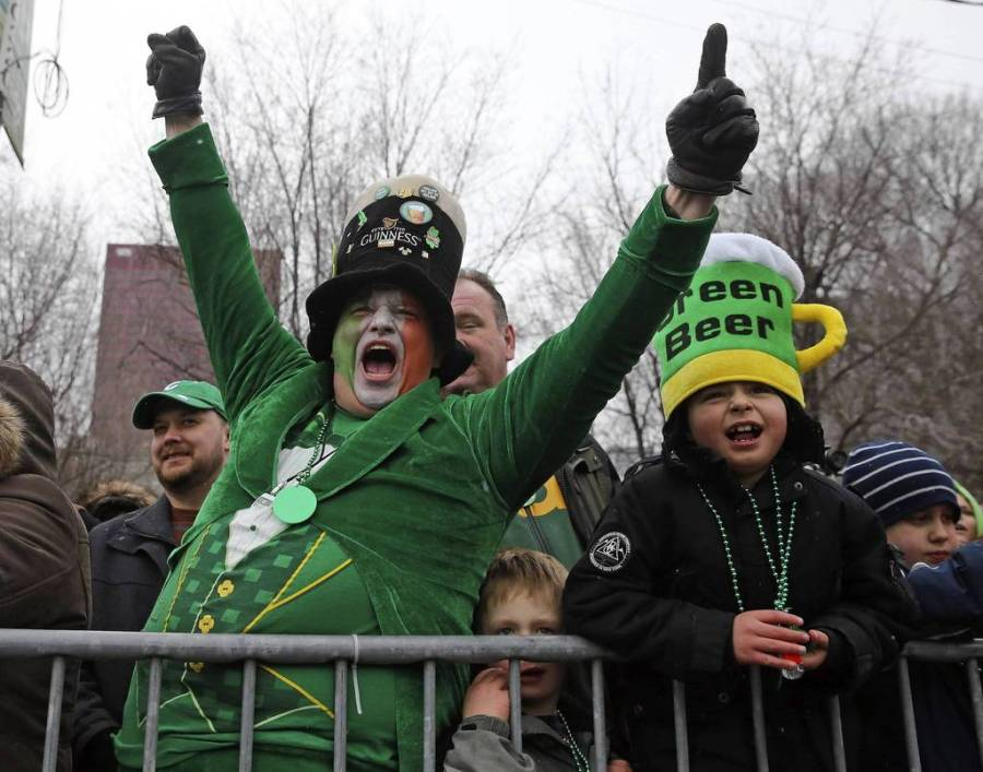 David Westerby, of Kenosha, Wis. cheers during Chicago's St. Patrick Day parade. The festivities brought thousands of people downtown for the parade and the ritual dyeing of the Chicago river. — Brian Cassella, Chicago Tribune, March 16, 2013