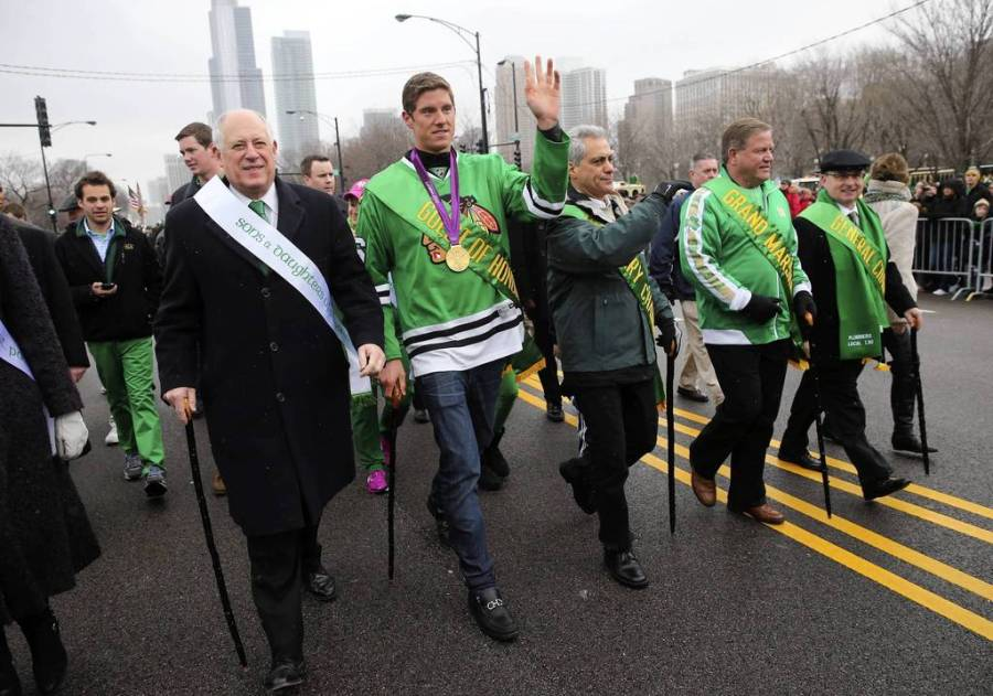 From left, Gov. Pat Quinn, Olympic swimmer Conor Dwyer, Mayor Rahm Emanuel and Notre Dame football coach Brian Kelly lead the parade. — Brian Cassella, Chicago Tribune, March 16, 2013
