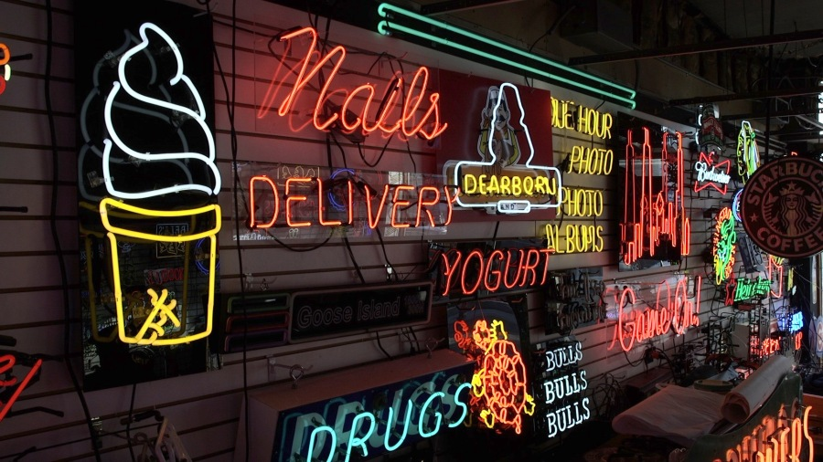A collection of neon signs