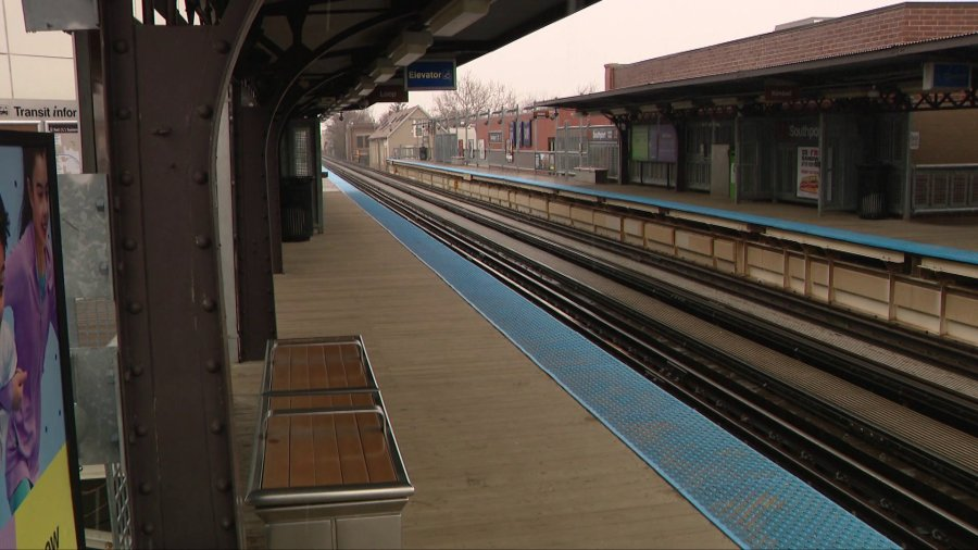 A Blue Line El station sits empty