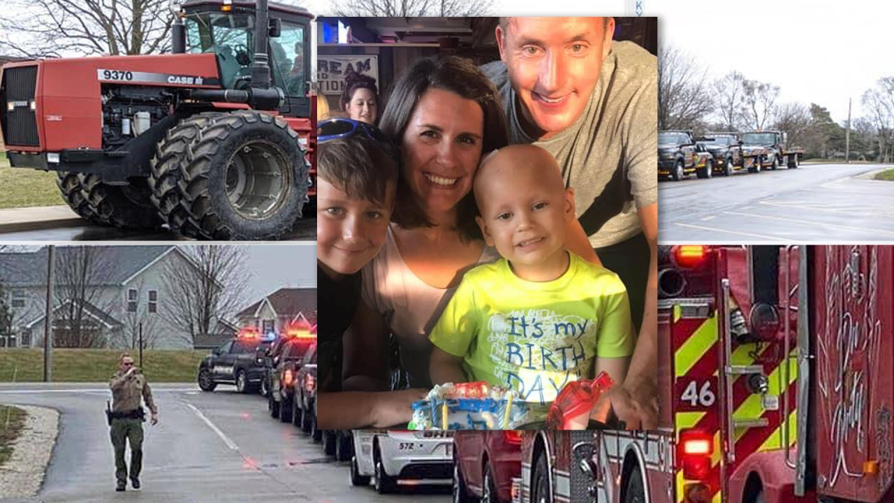Παρέλαση της αστυνομίας, πυροσβέστες, φορτηγά και γείτονες να δείξει την υποστήριξη για προαστιακό αγόρι μάχεται τον καρκίνο
