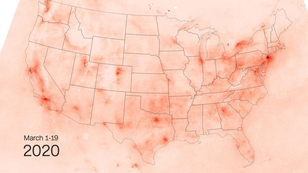 Satelliten-Bilder zeigen, weniger Umweltverschmutzung, über die USA als coronavirus heruntergefahren öffentlichen Orten