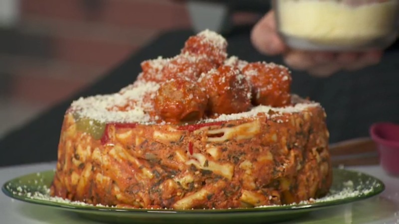 Dean shares easy and delicious recipe for Pasta Meatball Bundt Cake