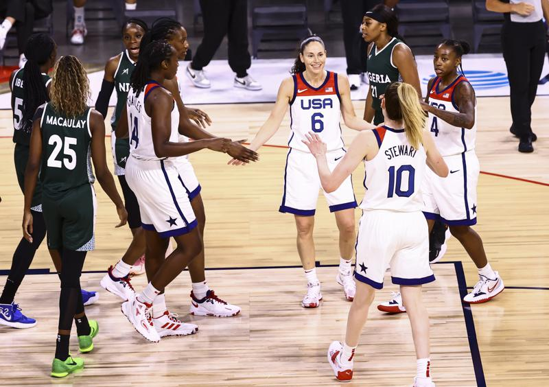 US women earn first exhibition win, routing Nigeria 93-62